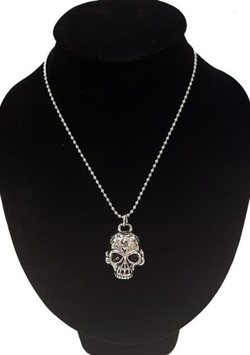 Men/'s Silver Stainless Steel Skull Pendant With Necklace Sp21 USA Seller