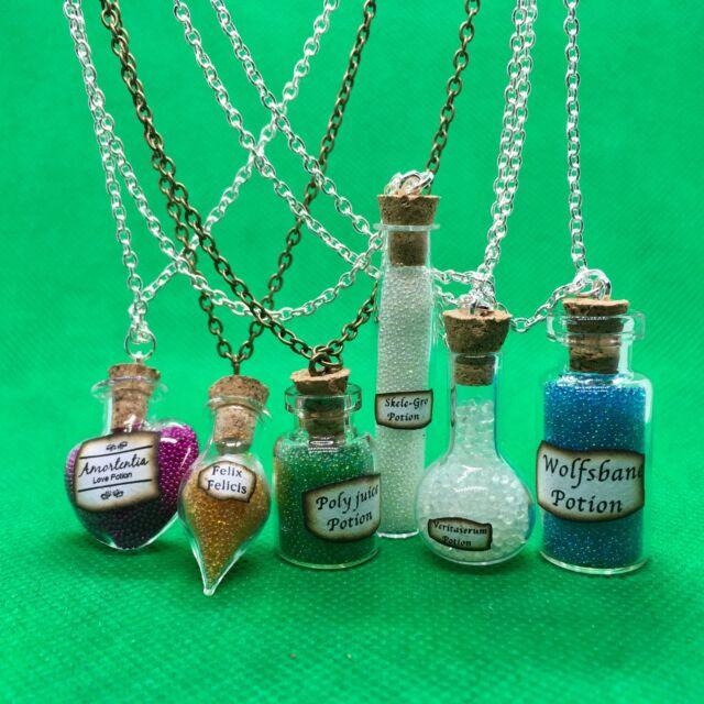 Amortensia Glass Potion Bottle Necklace Handmade Cosplay Fan Of Harry Potter