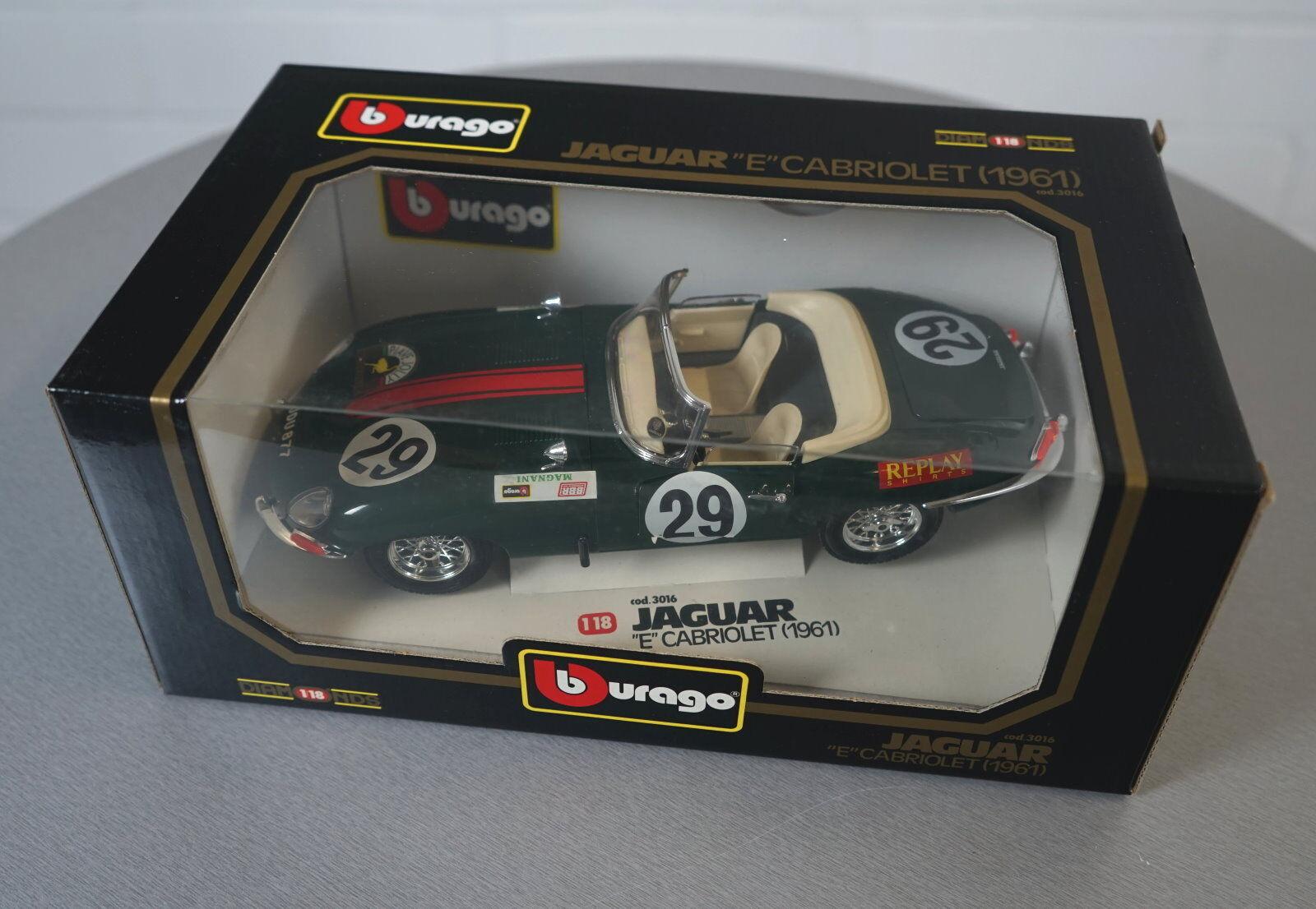 Burago 1 18 Jaguar E Cabriolet (1961) green - 3016 3016 3016 - Die-Cast Modell Auto NEU OVP c17886