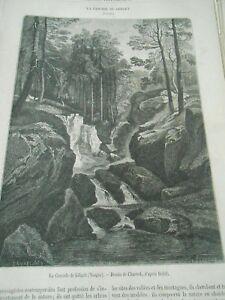 Expressif La Cascade De Géhart Dans Les Vosges Gravure Old Print 1863 Emballage De Marque NomméE