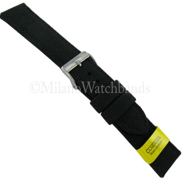 22mm Morellato Padded Stitched Genuine Cordura Canvas Black Watch Band Strap