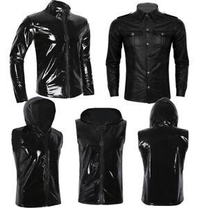Da-Uomo-in-lattice-T-shirt-Zipper-Pelle-Verniciata-Collant-Tank-Top-camicia-gilet-con-cappuccio-Club