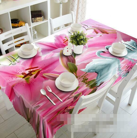3D Flowers Swans Tablecloth Table Cover Cloth Birthday Party Event AJ WALLPAPER