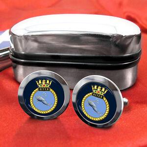 HMS-Biter-Marine-Royale-Boutons-Manchettes-amp-boite