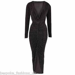 Ladies-Womens-Lurex-Glitter-Party-Off-Shoulder-Top-Bodysuit-Midi-Dress-8-14