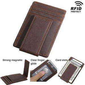 Brown Cowhide Leather Men/'s Slim Wallet Credit Card ID License Holder