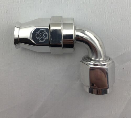 W57P reusable 6 POLISHED Swivel 6 AN Fitting 6AN 90 degree Hose End