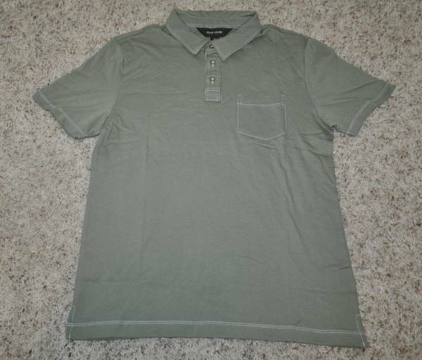Mens Adam Levine Green Short Sleeve Pocket Collar Lightweight Polo Shirt-size M