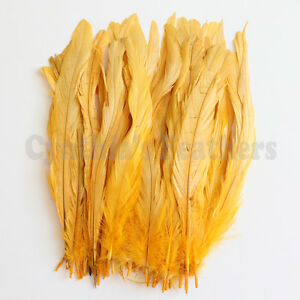 "NEW 50 pcs 8-10/"" long Yellow Dyed Rooster COQUE tail Feathers for crafting"