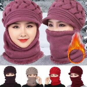 Women Bib Beanie Hat Pom Bobble Scarf Set Knitted Winter Warm Snow Ski Cap