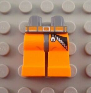 LEGO NEW ORANGE MINIFIGURE LEGS PANTS WITH BLACK LINES PATTERN