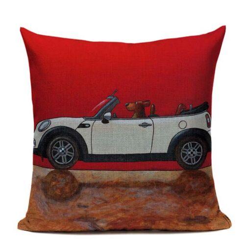 Pillow Lovely Cartoon Dog Cat Color Driving Car Vintage Almofadas Cushion Cover