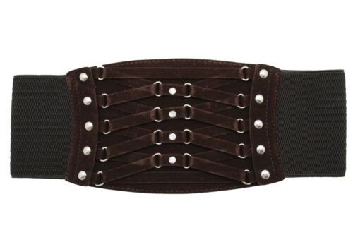 Women Fashion Dark Brown Faux Suede Leather Wide Corset Belt Elastic Band S M