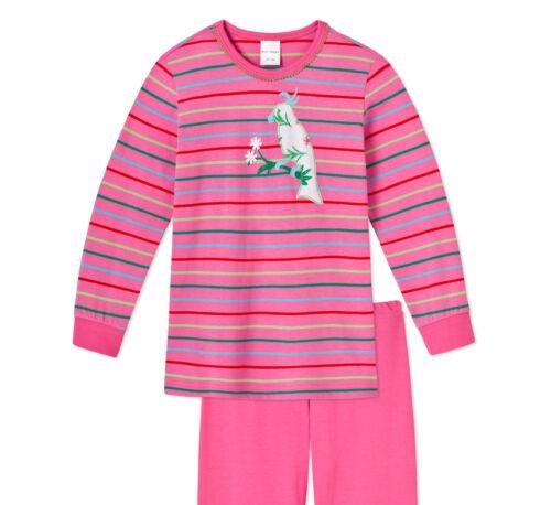 Schiesser Schlafanzug lang Mädchen gestreift Bündchen Baumwolle NEU