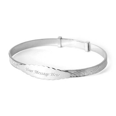 Sterling Silver 925 Engraved Christening Bangle kids Birthday Christmas Present