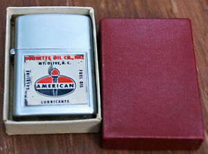 Vintage Advertising American Oil Gas Lighter Amoco Wind Proof NC Co Japan in box