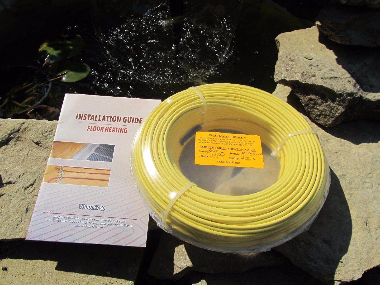 0EMF Warm Tile Under Floor Heating  cable 840 W 55-70 sq.ft.( 5-7 sq.m) 120/240V