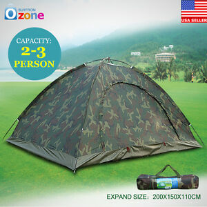 Camo Outdoor Camping Waterproof 2-3 Person Folding Tent Camouflage Hiking US A++