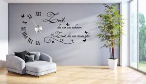 Das Bild Wird Geladen Wanduhr Wandtattoo Uhr Wohnzimmer  Wandsticker Wandaufkleber Spruch Uhrwerk