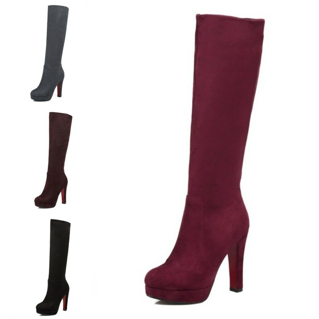 Womens Formal Side Zipper Chunky High Heels Dress Party Mid-Calf Snow Boots
