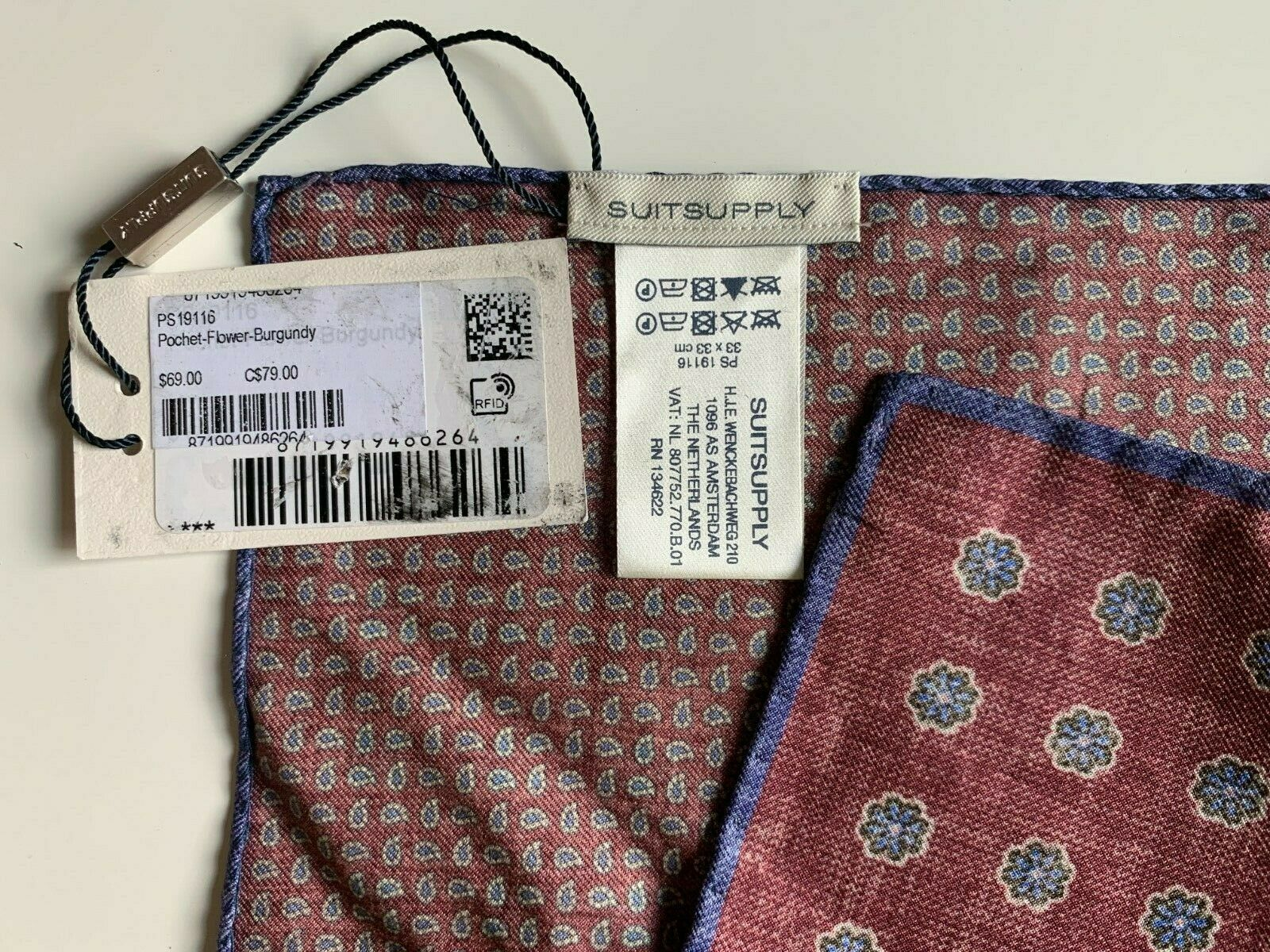 NWT Suitsupply Pocket Square Flower Pattern Burgundy Double Sided (PS19116)