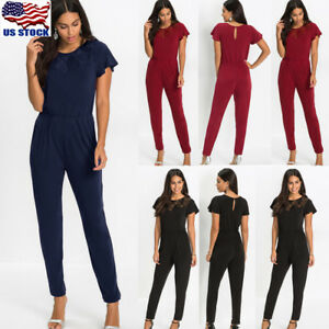 Womens-Sexy-Short-Sleeve-Evening-Party-Playsuit-Ladies-Summer-Lace-Long-Jumpsuit