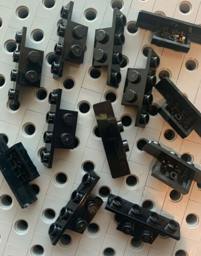 LEGO Black Bracket 1x2-1x4  Angle Plate Inverted Bricks Car part New Lot Of 12