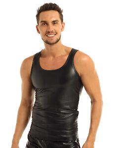Herren-Shirt-Leder-Optik-Hemd-Slim-Fit-Tank-Top-Wetlook-T-Shirt-Muskelshirt-Sexy
