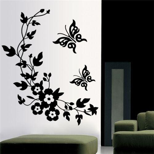 Butterfly Flower Bathroom Toilet Laptop Wall Decals Sticker Home Decoration 9UK
