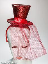 Top Hat Mini Red Sequin Top Hat With Headband Burlesque Showgirl Costume Hat