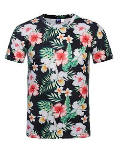 Fleurs-tropicales-T-Shirt-All-Over-Cool-Colore-Festival-T-Shirt