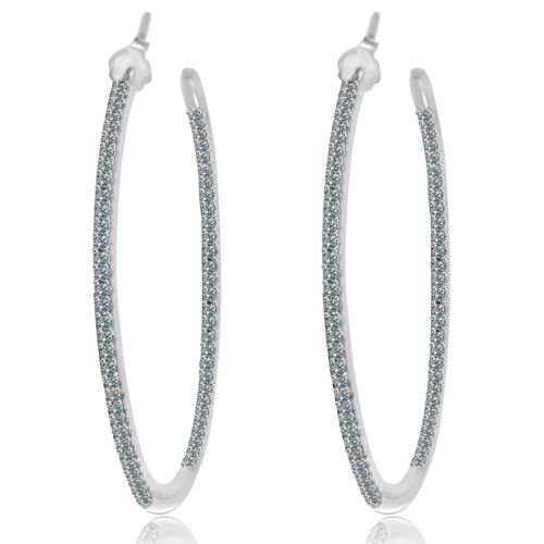 """2/"""" Pave 5A Cubic Zirconia InSideOut White Gold Sterling Silver Hoop Earrings-CZ"""