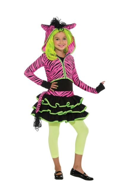 Neon Pink Zebra GIRLS CHILD Costume Size S Small 4-6 NEW