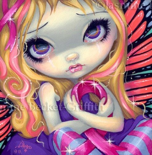 Fairy Face 177 Jasmine Becket-Griffith Pink Ribbon Fairy SIGNED 6x6 PRINT