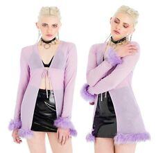 SALE! Purple Mesh Faux Fur Tie Top. Vintage Inspired. XS Or S. RRP £45