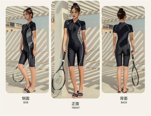 Women One Piece Swimwear Padded Zipper Sport Swimwear UV Protection Surfing Suit