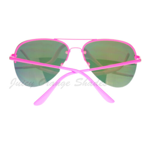 Rimless Aviator Sunglasses Color Mirror Lens Spring Hinge