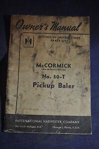 1949 McCormick No 50-T Baler Setting Up Instructions & Parts List