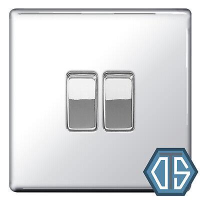 10amp 1 ou 2 Way Poli Miroir//Chrome Double Interrupteur De Lumière