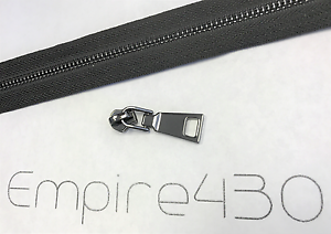 Continuous Zipper Chain by Feet, Unfinished Zipper Metal #5 Black, Black Tape