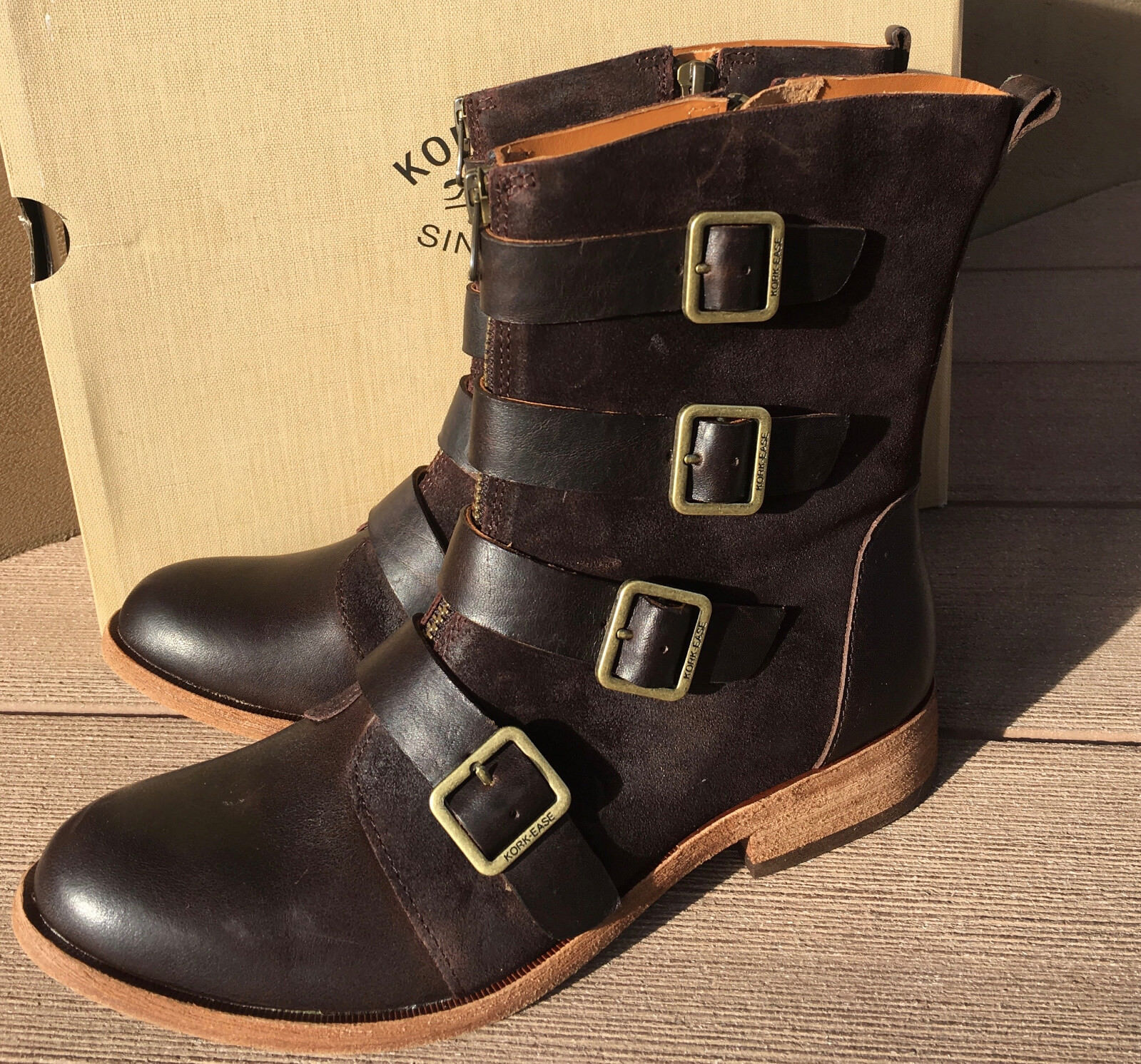 NEW NIB Kork-Ease Monrovia Mid Calf Biker Boot Chocolate Espresso 6.5 ret'l