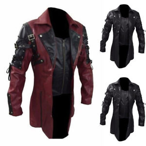 Mens-Steampunk-Gothic-PU-Leather-Trench-Coat-Motorcycle-Biker-Jacket-Overcoat