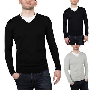 New-Mens-V-Neck-Jumper-Cotton-Soft-Pullover-Knitted-Plain-Designer-Sweater-Top