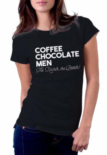 COFFEE CHOCOLATE WOMEN SLOGAN PRINT SHORT SLEEVE CREW NECK T-SHIRT NEW ALL SIZES