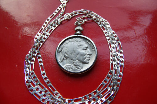 """1937 Buffalo Nickel Pendant on a 28/"""" .925 Sterling Silver Chain"""