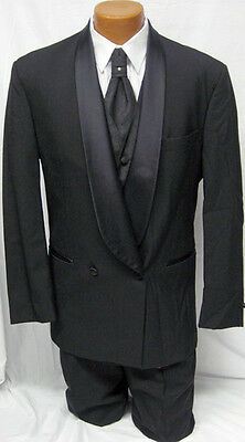 Mens Black DB Shawl Lapel Wool Tuxedo Coat w/ Pants Wedding Prom Debutante 41L