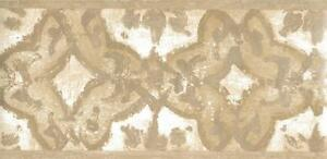 Wallpaper-Border-Gray-Taupe-amp-Cream-Block-Print-With-Silver-Accents
