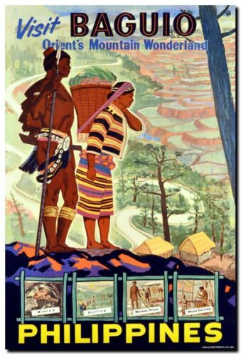 "Vintage Illustrated Travel Poster CANVAS PRINT Philippines Baguio 24""X18"""