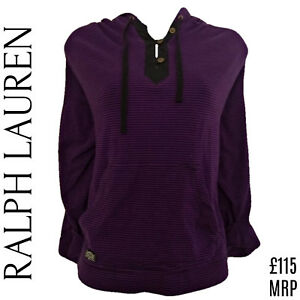 Top Large Lauren Hoodie Ralph Purple Pockets Size Hood Stripes Oversized Striped Ogqvwd5