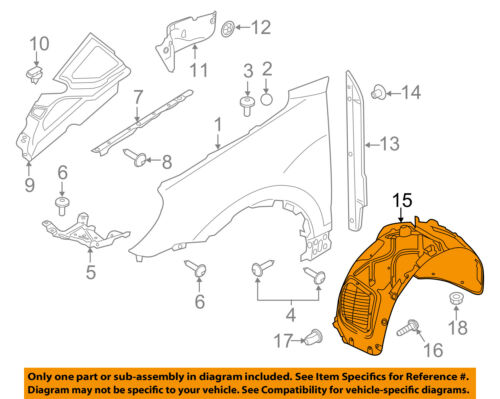 PORSCHE OEM 11-16 Cayenne-Front Fender Liner Splash Shield Left 95850496105
